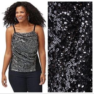 Lane Bryant Sequin Camisole Tank Top Black Silver